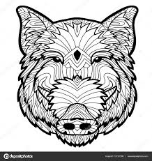 coloring antistress page wild boar is drawn by hand with ink