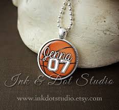 personalized basketball necklace back to school gift personalized basketball necklace custom