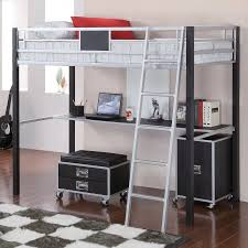 twin metal loft bed with desk and shelving coaster leclair twin metal loft bed with desk black silver