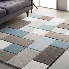 Rugs Modern Wrought Studio Mott Modern Geometric Carved Teal Brown Area