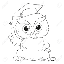 graduation owl character graduation owl for coloring book royalty free