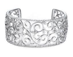 silver cuff bangle bracelet images Genuine diamond cuff bangle bracelet in sterling silver 1 1 8