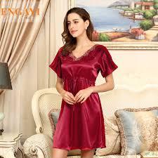 2016 plus size women silk satin nightgown night dress lace