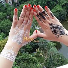 washable white henna tattoo stickers fake arm sleeve tattoos for
