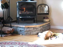 prefabricated hearth raised with stone face wood stove