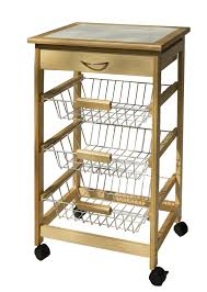 Kitchen Islands And Carts Neu Home Kitchen Cart With 3 Baskets Pine Walmart Com