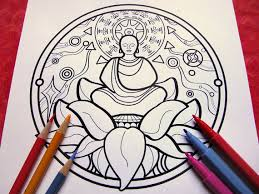 Peace Buddha Mandala Coloring Page Single Page To Print And Buddhist Coloring Pages