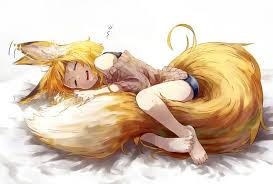 sleeping on short hair animal ears barefoot blonde hair fang foxgirl jaco original short