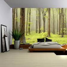 Wall Mural Sunrise In A Forest Wall Paper Self Adhesive Amazon Com Wall26 Green Misty Forest Mural Wall Mural