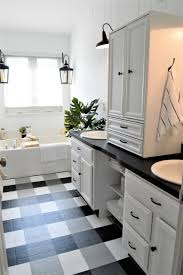 painted vinyl linoleum floor makeover ideas fox hollow cottage the other side of neutral budget bathroom makeover with painted floor tutorial
