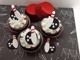 bowling cake toppers bowling pins cupcake toppers edible vanilla fondant