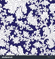 Block Print Wallpaper Seamless Pattern Fantasy Flowers Natural Wallpaper Stock Vector