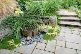 how to install yard rock landscape contemporary with moss