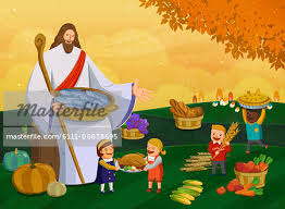 jesus among children celebrating thanksgiving day stock