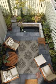 Ideas For Small Backyard Spaces Small Outdoor Space Brought Together By A Surya Rug From The