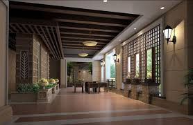 Villa Decoration by Delicate Wood Decoration For Villa Interior 3d House