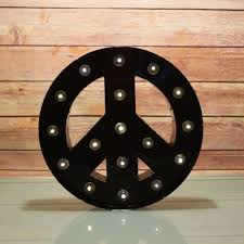 marquee light peace symbol led metal sign black battery operated