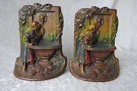 bookends lion cast iron bookends maiden at barefoot girl lion book