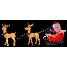 santa in sleigh with two outdoor deer decoration