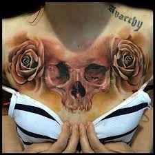 58 best realistic rose and skull chest tattoo images on pinterest