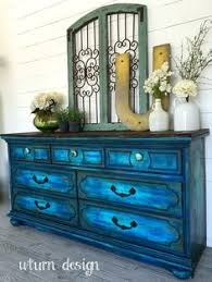 navy blue buffet with planked top by uturn design paint it