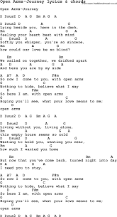 Blind To You Lyrics Open Arms Journey Chords And Lyrics Song Tab Pinterest