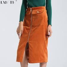 corduroy skirts winter corduroy skirt women zipper knee length padded