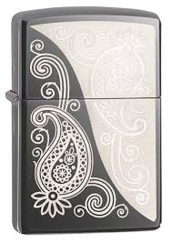zippo design paisley design zippo lighter in black chrome 29511