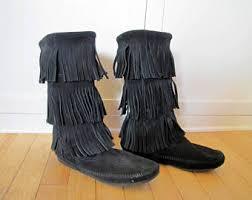 womens fringe boots size 9 moccasin etsy