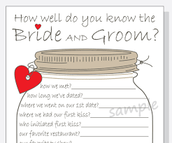 bridal shower groom questions how well do you know the bride and groom printable cards