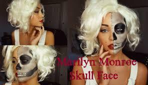 marilyn monroe skull face halloween tutorial youtube