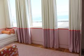 Girls Bedroom Window Treatments Girls Bedroom Custom Drapes With Border And Bed And Pillows In