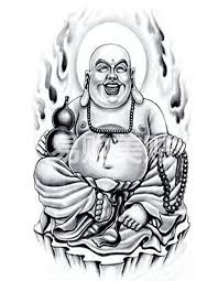 sitting laughing buddha tattoo design