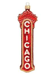 chicago marquee sign blown glass ornament