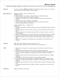 Sample Resume Of Driver by Extraordinary Inspiration Sample Warehouse Resume 16 Warehouse