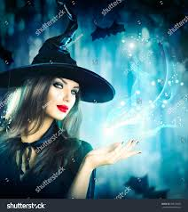 halloween witch magic dark forest beautiful stock photo 328798055