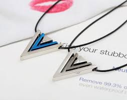 blue stainless steel necklace images Blue black irregular triangle geometric necklace men cool jpg
