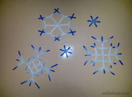 popsicle stick hanging snowflake artxplorez