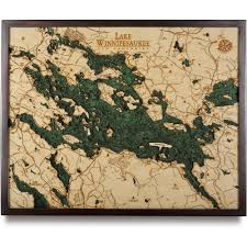 Elevation Map Of New Orleans by Lake Winnipesaukee Wood Map 3d Nautical Topographic Chart Framed