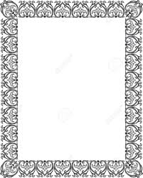 detailed floral ornament border frame monochrome royalty free