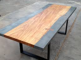 custom made concrete and exotic wood dining conference table