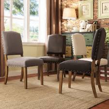overstock dining room sets tribecca home benchwright nailhead upholstered dining side chairs