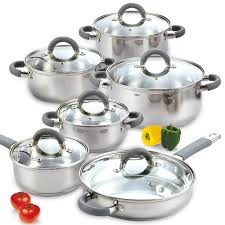home pans cook n home 12 piece silver cookware set with lids 02410 the