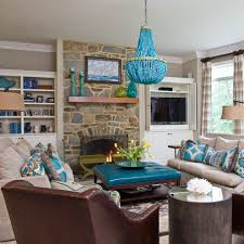 turquoise brown and turquoise living room decor on home interior