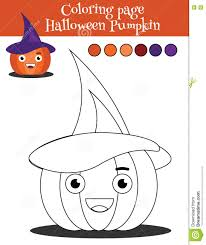 coloring page with halloween pumpkin educational game drawing