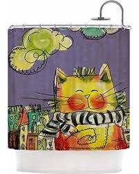 Kess Shower Curtains Bargains On Kess Inhouse Povarchik Cat With Scarf