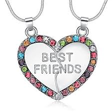 friend heart necklace images Eloi best friend necklaces multicolor heart 2 piece jpg