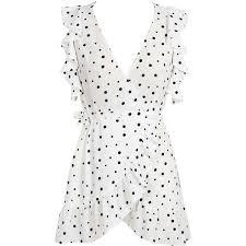 white v neck polka dot ruffle wrap dress u20ac27 liked on