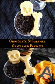 chocolate and caramel graveyard parfaits recipe spooky