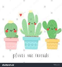 set three cute cartoon cactus funny stock vector 437938594